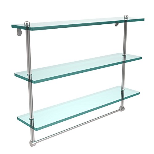 Allied Brass PR-5/22TB-PEW 22'' Triple Glass Shelf with TB Satin Chrome by Allied Brass
