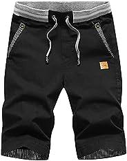 Lauwodun Men Casual Sports Shorts Flat Front Shorts Running Athletic Summer Beach Elastic Waist Cotton Short P