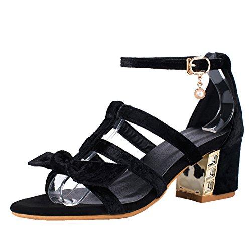 AIYOUMEI Damen Wildleder Knöchelriemchen Sandalen Chunky Heel Blockabsatz High Heels Modern Sommer Schuhe Schwarz