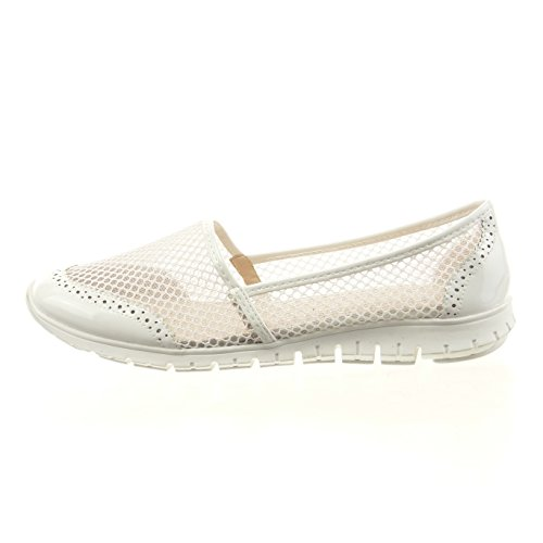 Sopily - damen Mode Schuhe Sneaker Ballerina Slip-On Fischnetz schuh Perforiert glitzer - Weiß