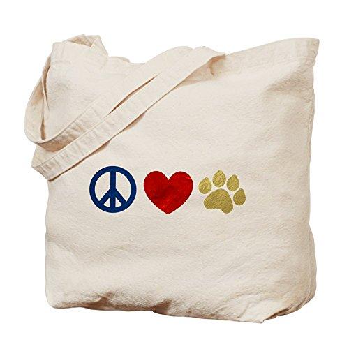 CafePress Unique Design Peace Love Paw Print Tote Bag - Standard by CafePress