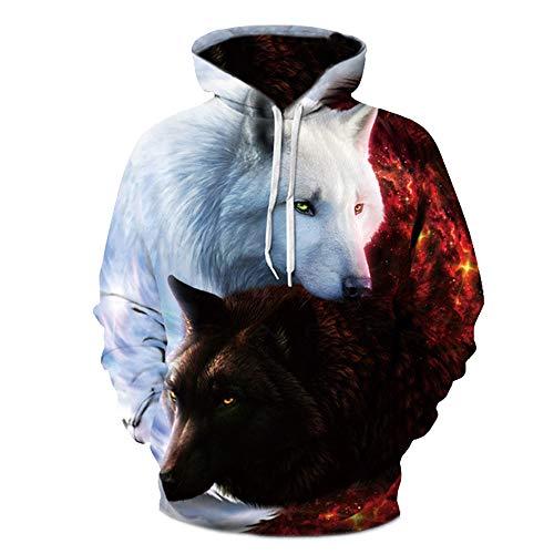 f66808b3c377 Moocare Unisex 3D Digital Printing Hooded Sweatshirt Vivid Wolves Pocket  Pullover Novel Outwear (White
