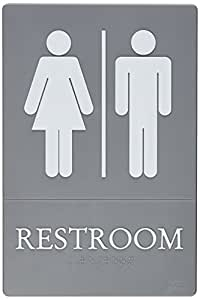 Quartet ADA Approved Restroom Sign, Tactile Graphics, Molded Plastic, 6 x 9 Inches, Gray (01411)