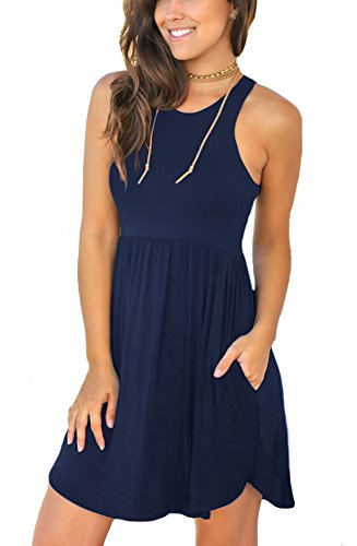 Unbranded* Women's Sleeveless Loose Plain Dresses Casual Short Dress with Pockets Navy Blue (Blue Sundress Dress)