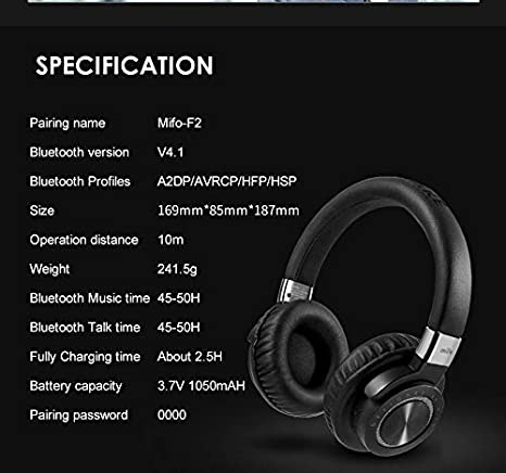 71d21bc2792 Mifo F2 Music Bluetooth Headphones Stereo Bass Headphone wirless noise  cancelling with mic for Iphone xiaomi Samsung Computer: Amazon.ae: iSolveIT