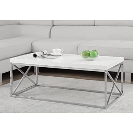 Delicieux Amazon.com: Cofee Table Center Tables For Living Room White Wood Chrome  Legs Gives Your Home A Chic Look: Kitchen U0026 Dining
