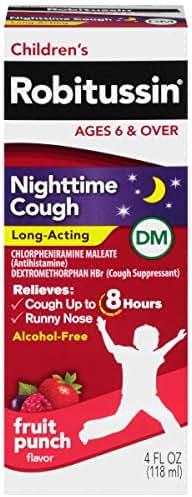 Children's Robitussin Cough Long-Acting (4 fl. oz, Fruit Punch Flavor), 8-Hour Cough Suppressant, Alcohol-Free, Ages 4+