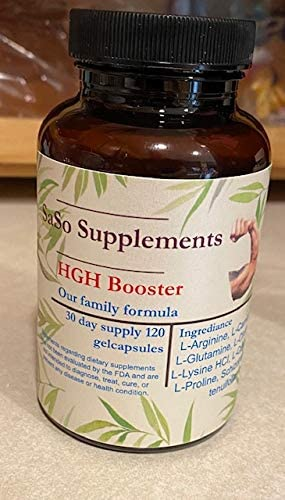 SaSo Supplements HGH Booster Naturally Stimulate Human Growth Hormone for Men - HGH for Men, Muscle Building, Muscle Growth Supplements for Men & Women, Amino Acid