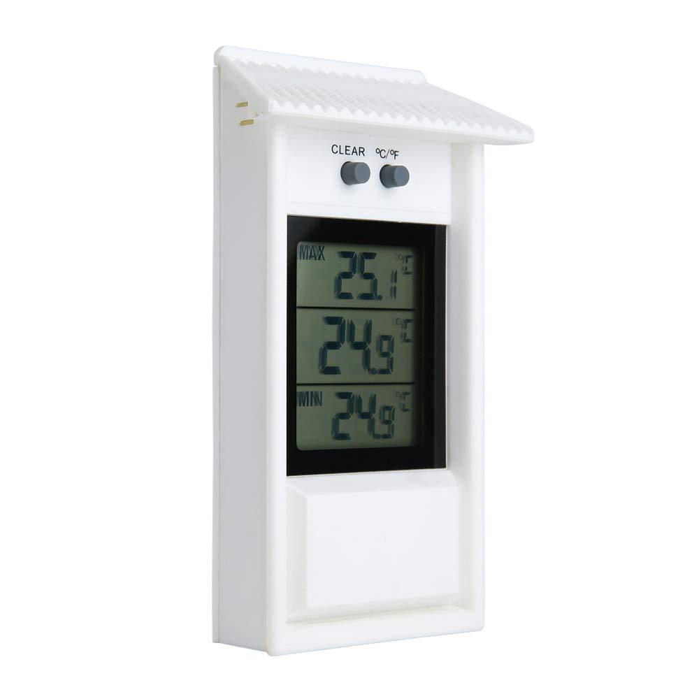 temperaturas m/áximas y m/ínimas del monitor para uso en el invernadero del patio del jard/ín TiooDre Term/ómetro digital MIN MAX term/ómetro para exteriores