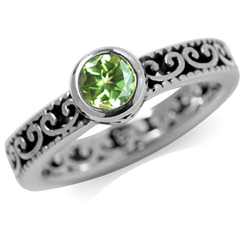 (Natural Peridot 925 Sterling Silver Stack/Stackable Filigree Ring Size 9.5)