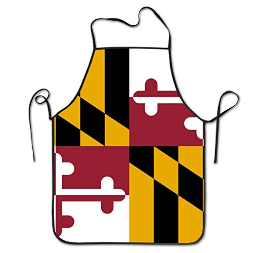COLOMAKE Waterproof Cooking Cool Maryland Flag Apron Personalized Chef Apron for Women Men Kitchen Bib Apron Ideal for Dishwashing Cleaning Painting
