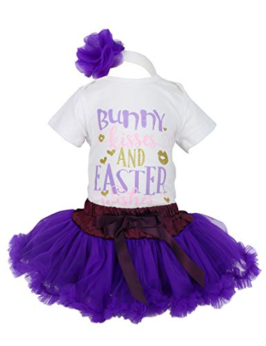 (Baby Girl Easter Dress Outfit Bunny Kisses and Easter Wishes Romper+Tutu Dresses Shorts+Headband Skirt Sets 9-12 Months)