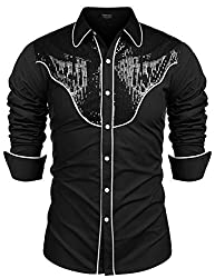 Men's Embroidered Sequin Long Sleeve Shirts