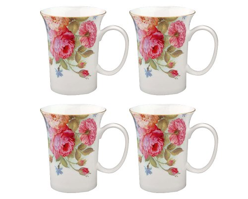 Gracie Bone China 10-Ounce Trumpet Mug, Pink Sandra's Rose, Set of 4