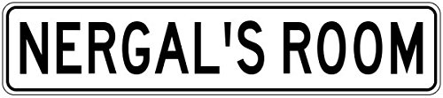 NERGAL'S ROOM - Kids Custom Personalized Aluminum Boys Room Sign - 6 x 24 Inches