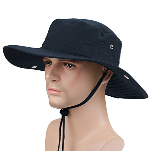 Free ISEYMI Multifunctional Outdoor cowboy hat Wide Brim Caps Sun Block Fishing Hat UPF50+
