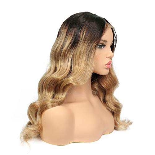 Betterluse Lace Human Hair Wigs Ombre Color Glueless Pre Plucked Brazilian Remy Wavy Wigs ()