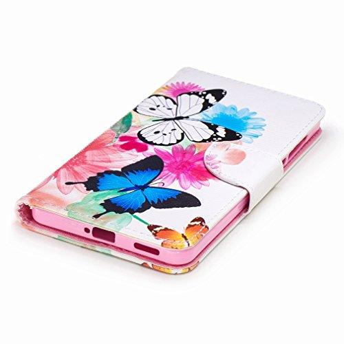 Yiizy Nokia 6 Custodia Cover, Farfalla Design Sottile Flip Portafoglio PU Pelle Cuoio Copertura Shell Case Slot Schede Cavalletto Stile Libro Bumper Protettivo Borsa