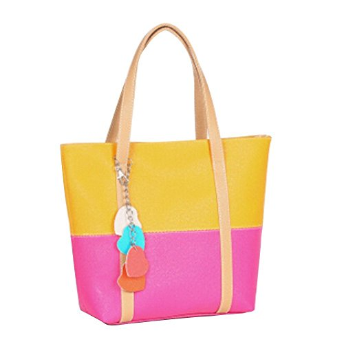 GQMART Candy Color Women'S Faux Leather Heart Messenger Bag Tote Bag - Black Orange Medium,Yellow and Rose-red by GQMART