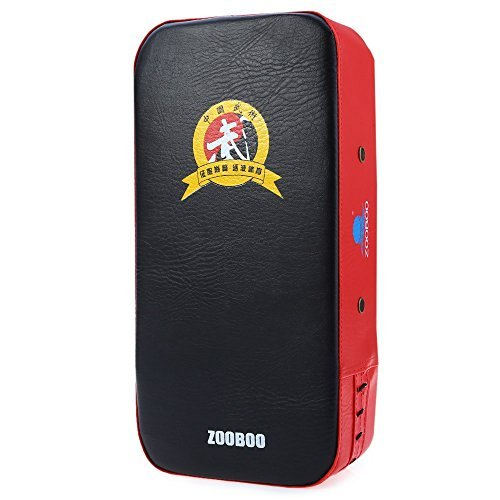 Zooboo PU Leather Square Punching Kicking Foot Pad Target MMA Boxing Mitt Focus Punch Pad ( Single )-RED WITH BLACK