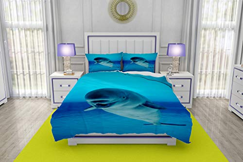 - RLDSESS Bedding,3 Piece Quilt Coverlet Bedspread,Single-Sided Color Printed Quilt Coverlet-All Seasons,Style-Beluga Whale Swimming in a Clear Pool White Blue-King