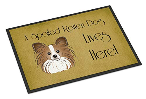 Caroline's Treasures BB1496MAT Papillon Spoiled Dog Lives Here Indoor or Outdoor Mat, 18 x 27