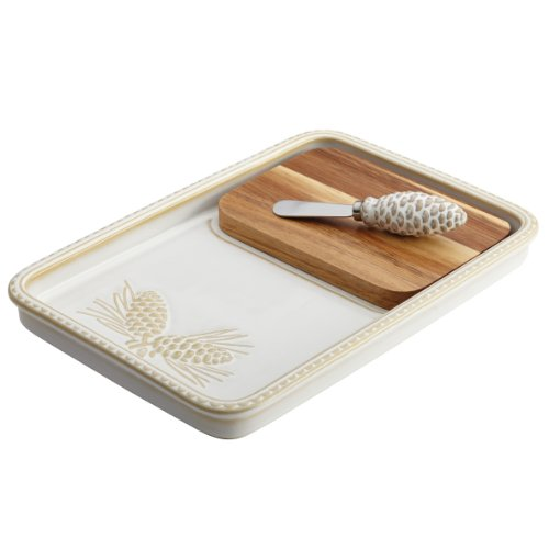 - BonJour Dinnerware Sierra Pine Stoneware Cheese Board and Knife Set, Birch