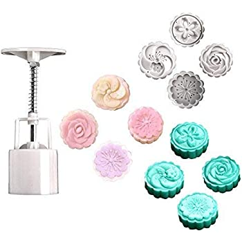 Cookie Stamps Flower Designs Cookie Presses Chinese Mooncake Mold Press 50G Cookie Stamps Cutters 4 Pcs Cake Stamps