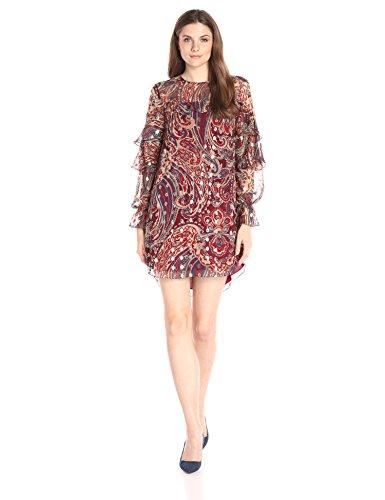Haute Hippie Womens Ruffle Dress Kennedy Metallic S