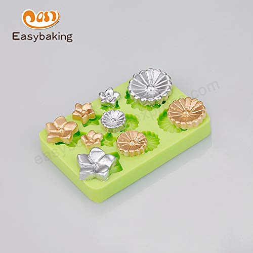 Flower Shape - Multi Flowers Shapes Silicone Fondant Molds Ice Cube Button Earrings Rings - Punching Chains Lights Night Bathtub Lollipop Dummy Marshmellow Balloons Cutter