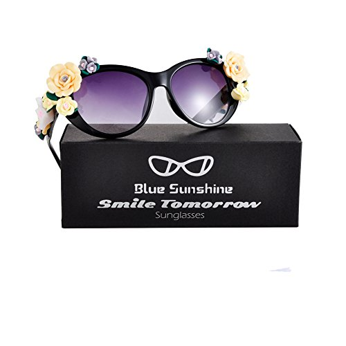 Sunglasses for Women Oversized Cat Eye Glasses Flowers Sunglasses Beach On Vaction UV400 - End Brand High Glasses