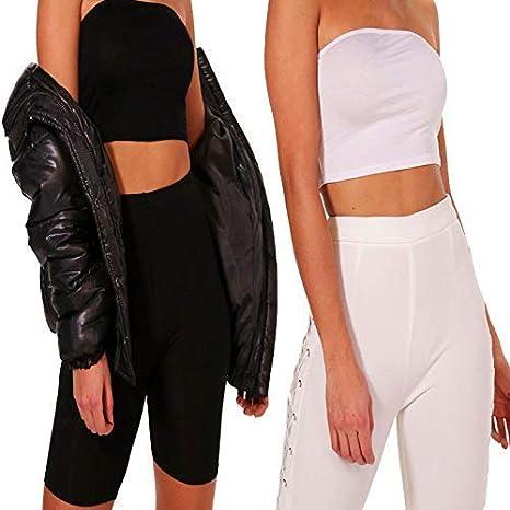 2 Pack Women Bandeau Ladies Jersey Basic Plain Boohoo Stretch Strapless Crop Top