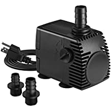 Homasy 320GPH (1200L/H, 22W) Submersible Pump, Ultra Quiet Fountain Water Pump with 4.1ft Power Cord, 3 Nozzles for Aquarium, Fish Tank, Pond, Statuary, Hydroponics