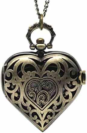 Souarts Antique Bronze Color Hollow Heart Shape Pocket Watch