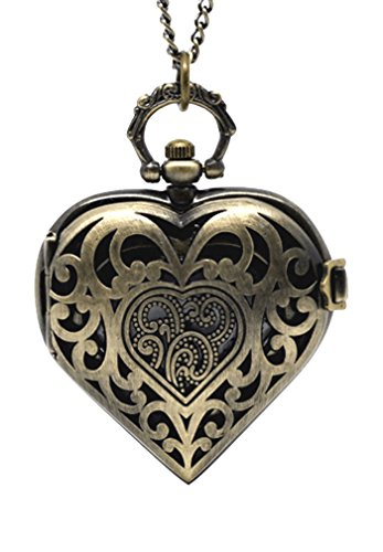 Souarts Antique Bronze Color Hollow Heart Shape Pocket Watch