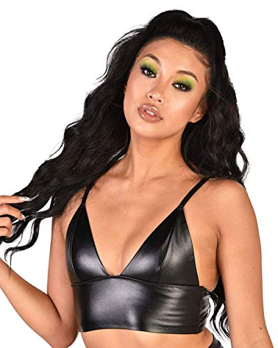 iHeartRaves Let It Ride Faux Leatherette Sleek Black Bralette (Small)