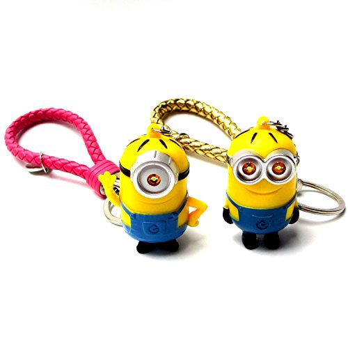 "FASHION ALICE 2pcs Hot Movie Minions,Despicable Me, 2.2"" Action Figure LED Keychain Ring,Pendant,Accessories,Christmas valentine Gift,Hide Rope ,I Love You Sound Effects (gold and mei red)"