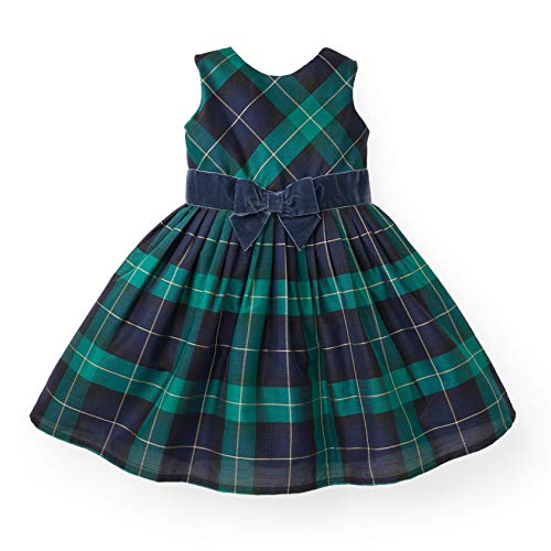Party Dresses Toddlers (Hope & Henry Girls' Green Plaid Taffeta Knife Pleat Dress with)
