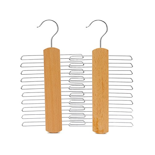 J.S. Hanger Natural Beech Wood Multifunctional Accessories Hangers for Ties and Belts, 2-Pack