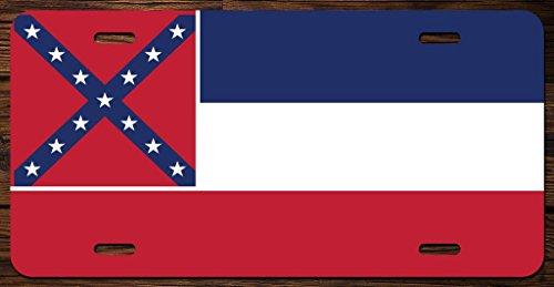(Mississippi State Flag Vanity Front License Plate Tag Printed Full Color KCFP015)