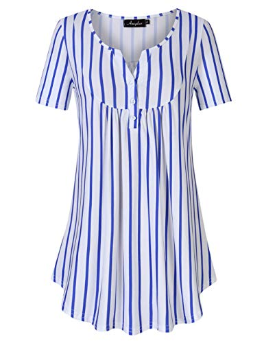 AMZ PLUS Women's Plus Size Flowy Tops V-Neck Loose Blouse Casual Tunic Shirt (XL, White with Blue Stripes)