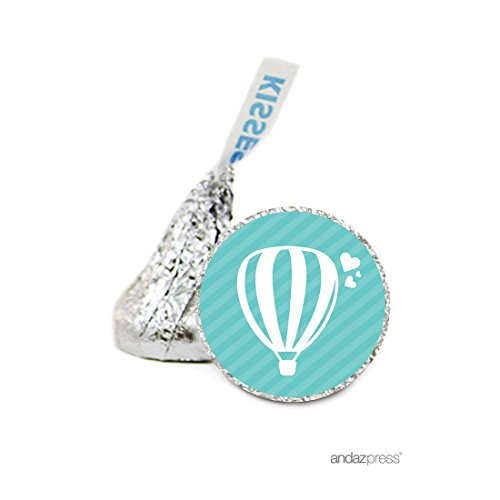 Andaz Press Chocolate Drop Labels Stickers, Wedding, Hot Air Balloon, 216-Pack, For Hershey's Kisses Party Favors, Gifts, (Homemade Hot Air Balloon)