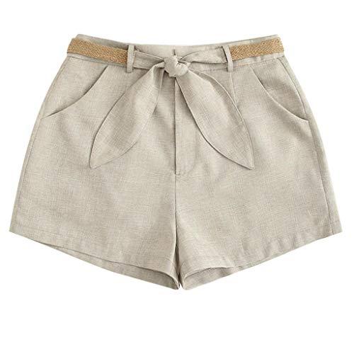 (Tomppy Women Cotton Linen Shorts Casual Summer Solid Short Pants with Pockets & Belt (XXL, Beige))