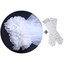 KimmyKu White Floral Wreath Veil Crown Girls First Communion Costume Accessories
