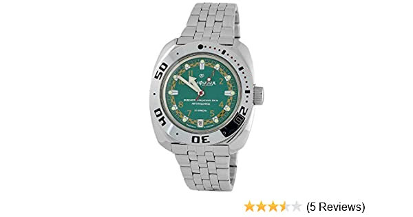Amazon.com: Vostok Amphibian 710439 /2416b Russian Military Watch Auto Divers 200m Scuba Green: Vostok: Watches