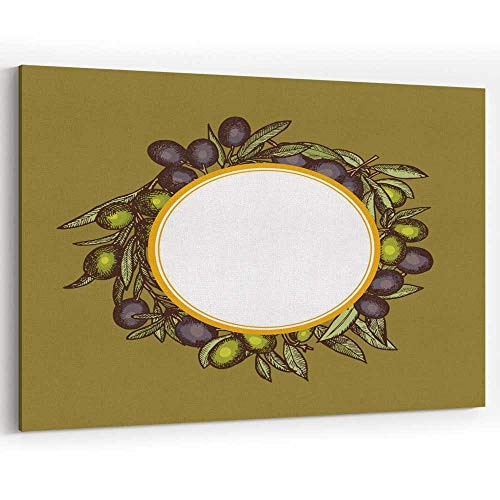 (Actorstion Vector Hand Drawn Olive Branches with Place for Text Canvas Art Wall Docor,054195 36