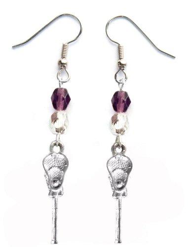 ''Lacrosse Stick & Ball'' Lacrosse Earrings (Team Colors Purple & Silver) by Edge Sports