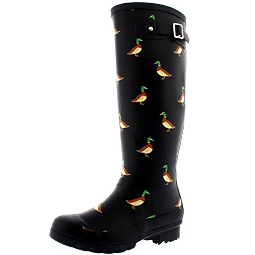 Polar Products Dames Animal Print Winter Snow Rain Rubber Waterproof Wellington Boots Black - Duck