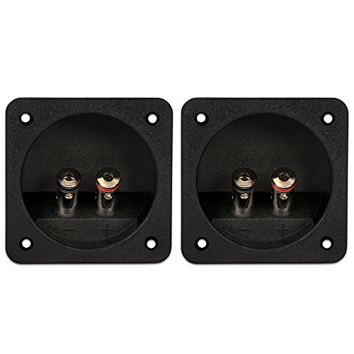Goldwood Sound Speaker Box Terminal Cups 2 Square Power Speaker Terminal Plates Black (RGT-6000-2) Speaker Cup
