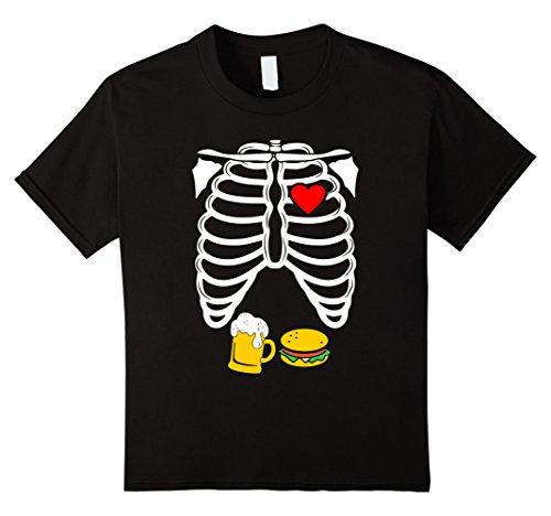 Kids Skeleton Rib Cage Beer Burger Pregnancy Halloween T-Shirt 6 Black (Baby Cheeseburger Halloween Costume)
